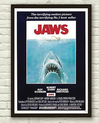 Vintage Jaws Shark Movie Film Poster Print Picture A3 A4