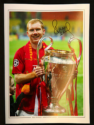 New Paul Scholes Signed 12x16 Manchester United Football Photograph : A