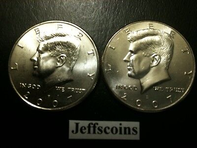 2007 P&D Kennedy Half Dollar Set GEM BU From MINT ROLL Clad No Silver 50 Cent