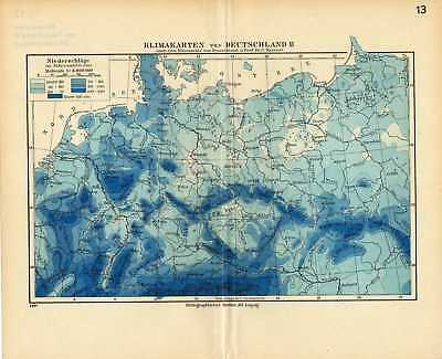 Old climate map Germany rainfall Deutschland 1936