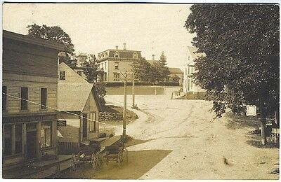 East Machias ME Street View Pool Parlor French Meats RPPC Real Photo Postcard