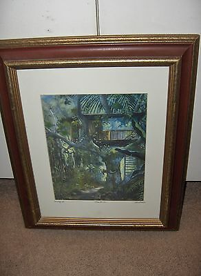 Vntg Art Print Tree House By Dawn Lundquist Hawaii Professionally Framed 37/900