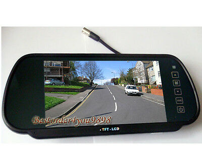 "7"" TFT LCD Car Rear View Mirror Monitor 2CH For Reversing Camera Kit & VCR DVD"