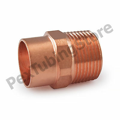 """(50) 3/4"""" C x 3/4"""" Male NPT Threaded Copper Adapters"""