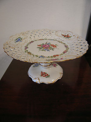 Vintage Possibly Antique Schierholz German Porcelain Compote w Floral Decoration