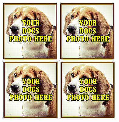 Your Own Dogs Photo Personalised Set Of 4 Coasters - Brand New - Gift / Present