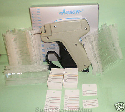 GARMENT  PRICE LABEL TAGGING TAG GUN WITH 2000 pins100 PRICE LABELS + 2 NEEDLES