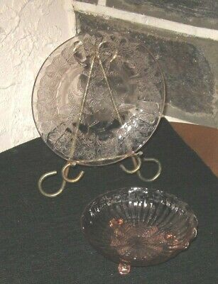 Depression glass lot Floral dish and footed bowl in pink