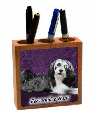 Tibetan Terrier  black & White color  # 22  Personalized  Pencil and Pen Holder