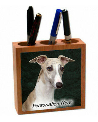 Whippet    brindle & white color   # 26  Personalized  Pencil and Pen Holder