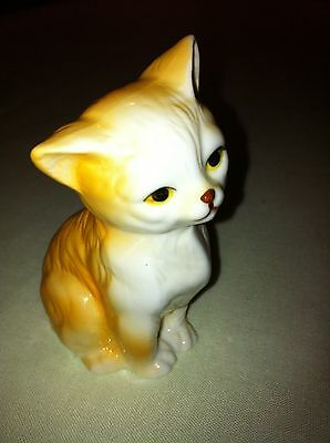 Vintage Porcelain Small Yellow Cat