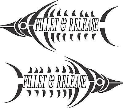Fillet & Release Stickers x 2 x 275 x 120 Quality Stickers made for the outdoors