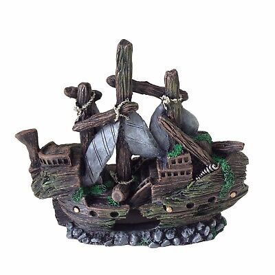 Aquarium Fish Tank Ornament Decoration - Small Shipwreck Boat