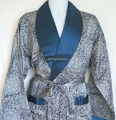 Mens Silk Satin Pajamas Kimono Robe Gown Loungewear US S M L XL,2X to 5X pattern