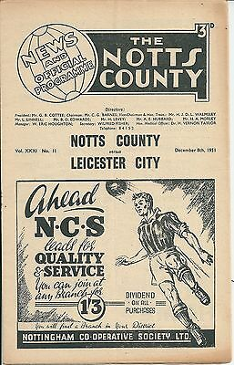 NOTTS COUNTY v LEICESTER CITY ~ 8 DECEMBER 1951