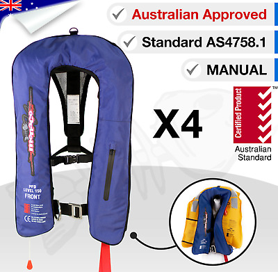 4 x ADULT Life Jackets Inflatable PFD1 Type Yoke LifeJackets Manual Level 150N