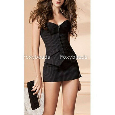 Sexy Pinstripe Overbust Corset OL Lace up Bustier Top + G-string + Mini Skirt