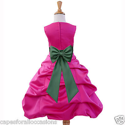 Fuchsia Hot Pink Christmas Toddler Wedding Flower Girl Dress 2 4 6 8 10 12 14 16