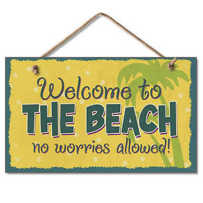 Welcome to the Beach No Worries Allowed Wood Sign NEW Coastal Cottage Decor