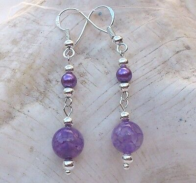New Gemstone Earrings With Red Agate Beads /& Sterling Silver Hooks LB1293