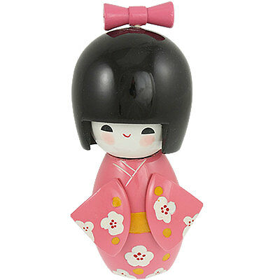 Bowtie Decor Smiling Girl Pink Kimono Japanese Kokeshi Doll Toy