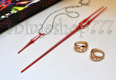 Evangelion EVA Spear of Longinus Necklace Rings 4PCS Cosplay Free Shipping