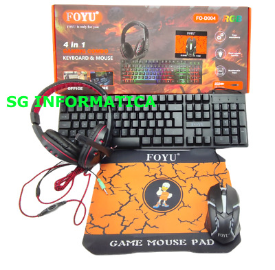 Kit Gaming Trust Tastiera PC Gaming + Mouse Gaming + Cuffie Gaming BUNDLE 4 in 1