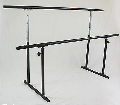 "5.5ft Double Ballet Barre Stand Adjustable 31-49"", 300 lb Wt Capcity, Pilate"