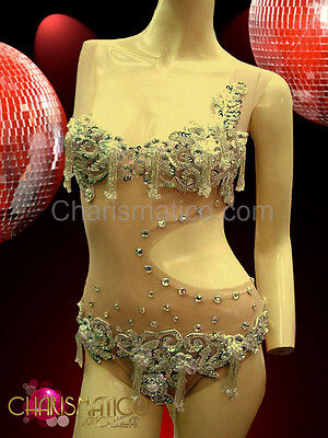 CHARISMATICO Nude Net burlesque leotard with silver appliqué and crystal studs