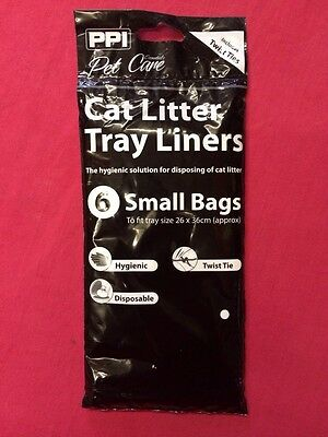 Cat Litter Tray Liners 6 x Small 26 cm x 36 cm twist tie hygienic disposable
