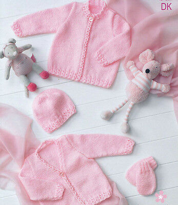 baby cardigan hat and mittens dk knitting pattern 99p