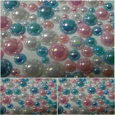 Flat back AB Mixed Pastel Pearls - Mixed pack sizes 4mm-10mm-cards/scrapbooking