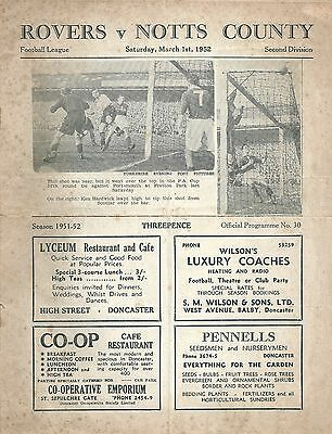 DONCASTER ROVERS v NOTTS COUNTY ~ 1 MARCH 1952