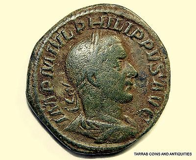Ancient Roman Bronze Philip I Sestertius; Very Scarce Coin! 244-249 A.d. Nice!