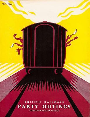 Vintage Reproduction British Railways Party Outings Poster  A3 Size