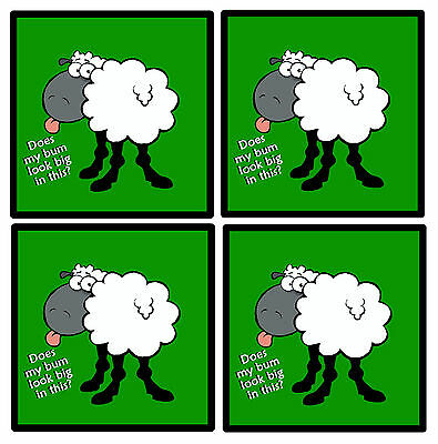 Sheep On The Green  - Set Of 4 Funny Coasters - Gift/ Present - Brand New