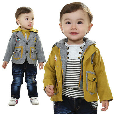Toddler Boy 3 PC Outfit Set Party Suit Size1-6 Years Jacket+ Top+ Jeans!Hooded!