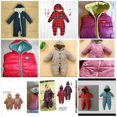 BABY Toddler Winter Snowsuit Jacket playsuit Size 3-24months.Zip Up Hooded.