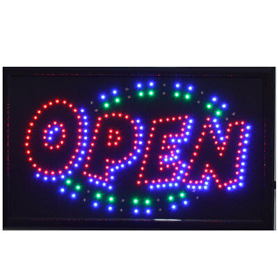 """LARGE Animated LED Neon BUSINESS OPEN Sign w.Motion ON/OFF Switch 21"""" X13"""" # 013"""