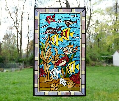 "20"" x 34"" Fish under the Sea Handcrafted stained glass window panel"