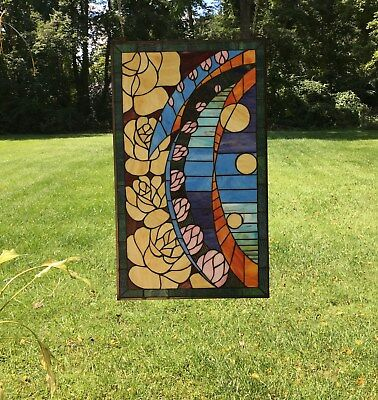 "20"" x 34"" Flowers Handcrafted stained glass window panel"