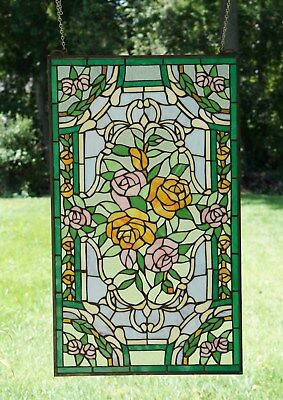 "20"" x 34""Rose Flower Tiffany Style stained glass window panel"