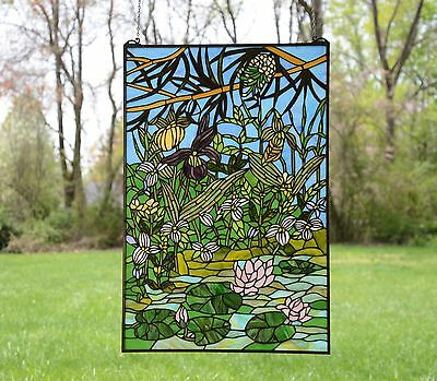"24"" x 36"" Lily Pond Lotus Tiffany Style stained glass window panel"
