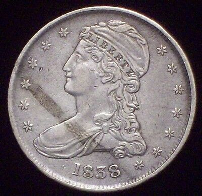 1838 BUST SILVER Half Dollar HALF DOL Huge Die Break XF Detailing RARE Authentic