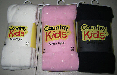 Winter Weight Cotton Sparkle Dot Tights Pink White Navy Ages 1-11 Sparkly Warm