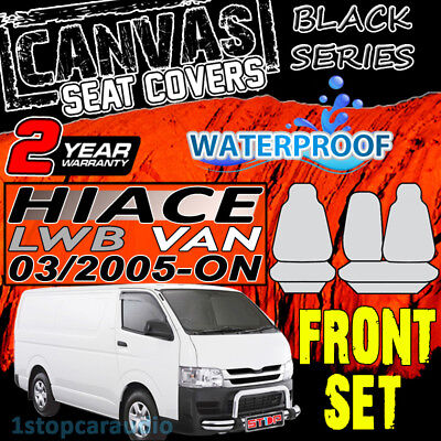 Toyota Hiace Lwb 3/2005-1/2014 Black Cotton Canvas Front Seat Covers Custom Fit