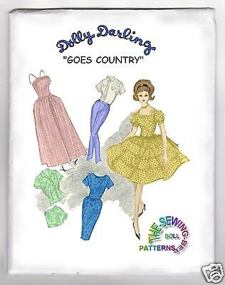 "fits Barbie Dolls Dolly Darling ""GOES COUNTRY"" Doll Wardrobe Pattern old 11-1/2"""