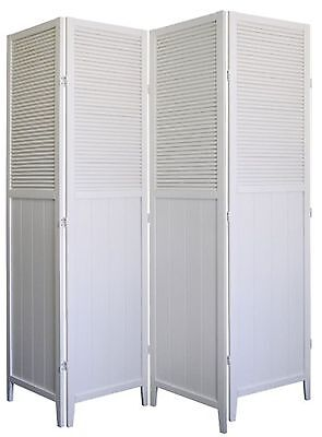 4 Panel Room Screen Divider Shutter Door Solid Wood, Espresso or White Finish