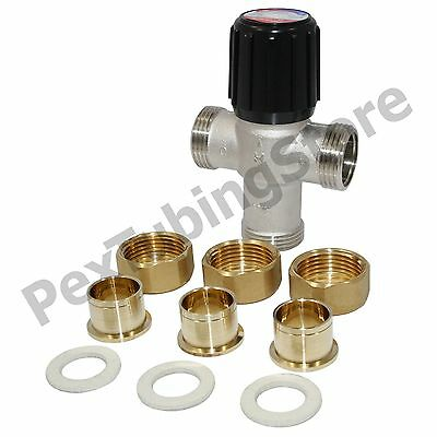 """Honeywell AM101R-US-1 Mixing Valve for Heating Only, 3/4"""" Union Sweat, 70-180F"""