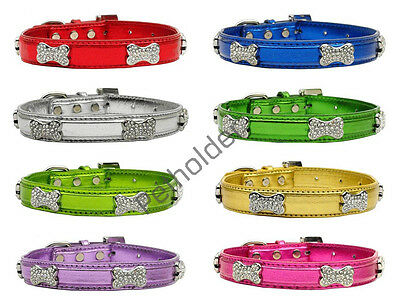 Faux Bright Gorgeous Dog Pet Puppy Cat Collar adorned with crystal Diamond Bone